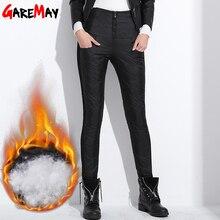 Kadın kış pantolon yüksek bel ördek aşağı sıcak bayanlar İş Casual Slim bayan resmi pantolon uzun siyah pantolon kadın klasik