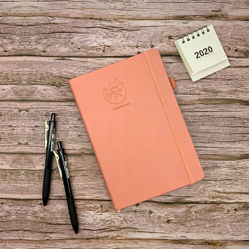 2020 Cute Cartoon Cat Hardcover Bullet Journal Dotted Notebook A5 Cover 100gsm Thick Paper Dot Daily Weekly Planner Organizer
