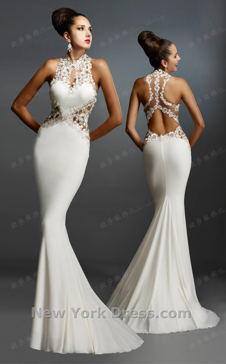 Robe De Soiree Courte 2017 New Saree Sexy Backless Brides Gown Lace Appliques White Mermaid Evening Mother Of The Bride Dress