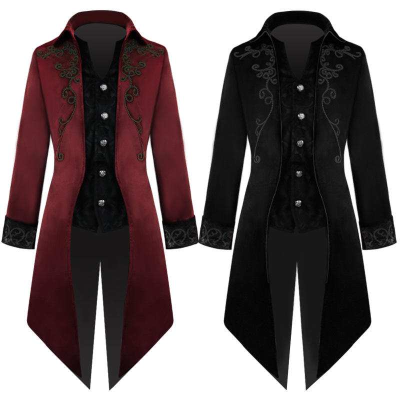 2019 Male Jacket Solid Embroidery Punk Jacket Retro Swallow-tailed Coat Suits Autumn Windbreaker Long Blazer Trench Coats