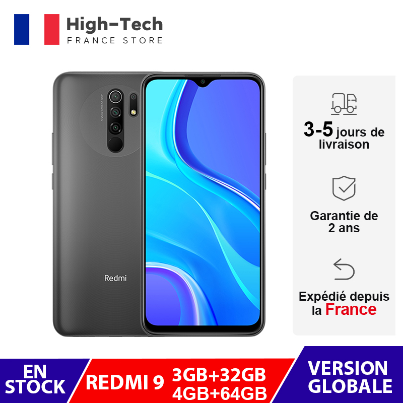 "Global Version Xiaomi Redmi 9 Mobile Phones Helio G80 3GB/32GB 4GB/64GB 6.53"" FHD+ Screen 13MP AI Quad Cams Smartphone 5020mAh"