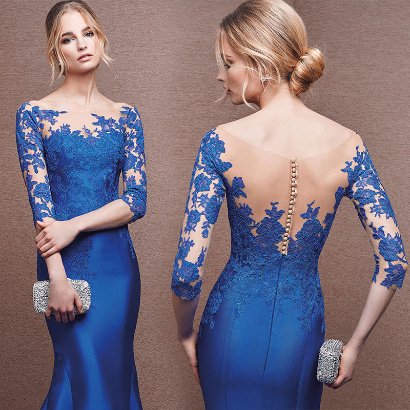 Royal Blue Mother Of The Bride Dresses Half Sleeves See Through Back Women Mermaid Evening Dress For Wedding Party Plus Size