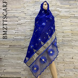 Image 1 - African Women Embroidery Cotton Splicing Net Scarf Big Size Headscarf Women Hijab Scarf on Sales BM819
