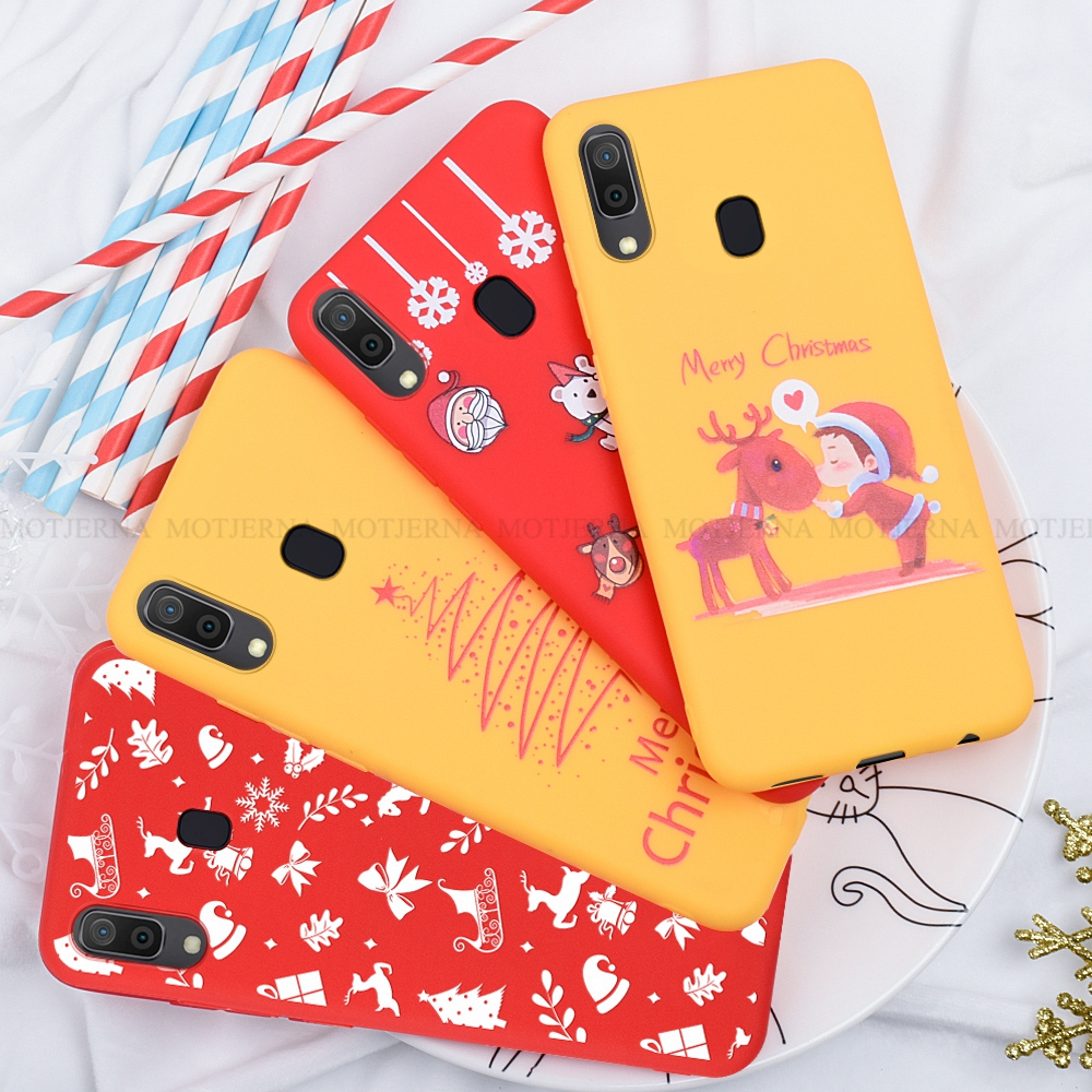 For <font><b>Samsung</b></font> Galaxy A20 A30 A50 A70 A7 A750 <font><b>A2018</b></font> A10 Cartoon Christmas Deer & Snowman Soft TPU Phone Back Cover Case Gift image