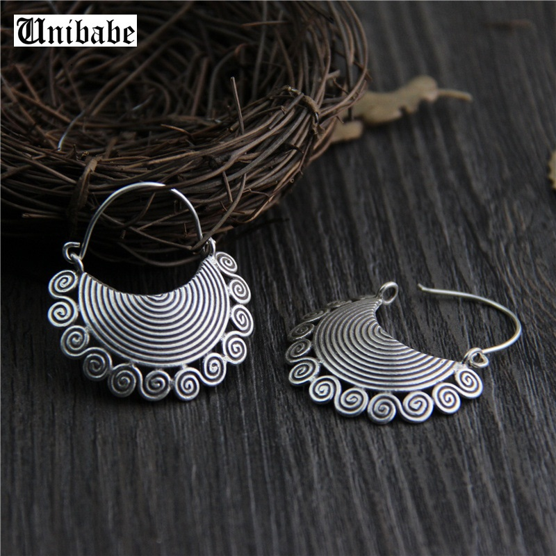 Perak murni Etnis Thai Hand Made Sterling S925 Perak Menjuntai Drop Earrings Vintage Matt Retro Craft Wanita Perhiasan (3AHP1)