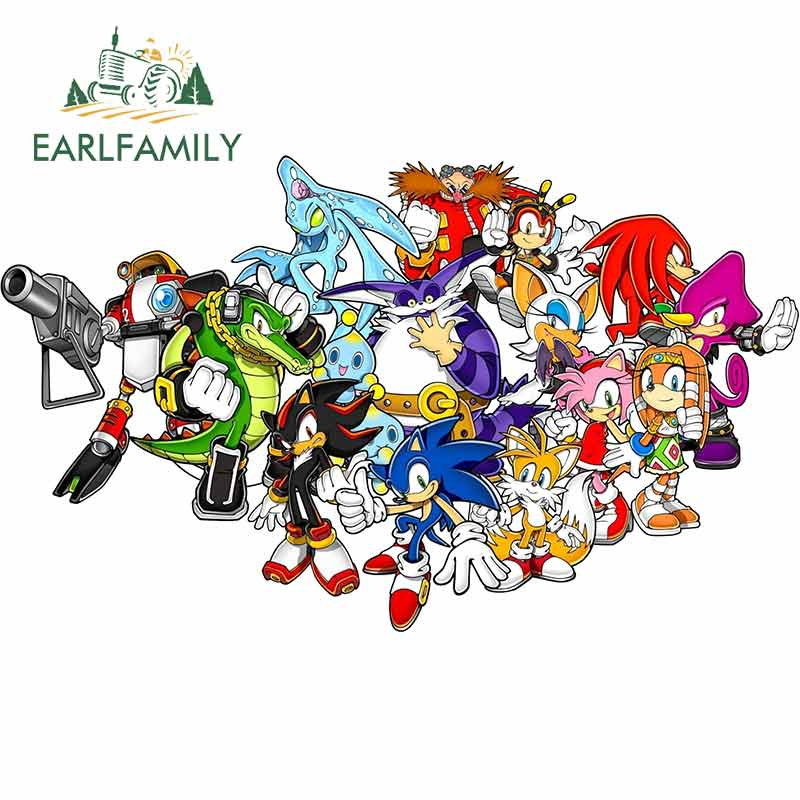 EARLFAMILY 13cm X 7.9cm For Sonic The Hedgehog Personality Car Stickers Vinyl Material Decal Car Accessories Occlusion Scratch