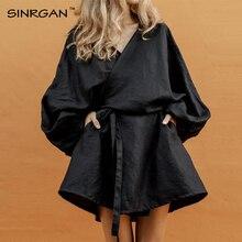 SINRGAN/черное платье с длинным рукавом для женщин; сезон весна-осень; платье в японском стиле; большие размеры; однотонное свободное платье из хлопка и льна
