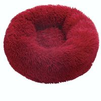 Red-Round Cat Beds House Soft Long Plush Best Pet Dog Bed For Dogs Basket Pet