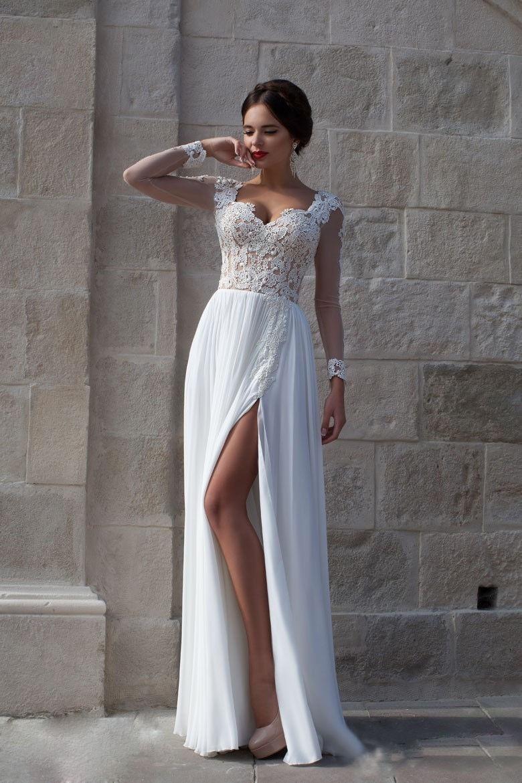 Beach 2019 Wedding Dresses A-line Sweetheart Chiffon Lace Slit Dubai Saudi Arabia Boho Wedding Gown Bridal Vestido De Noiva