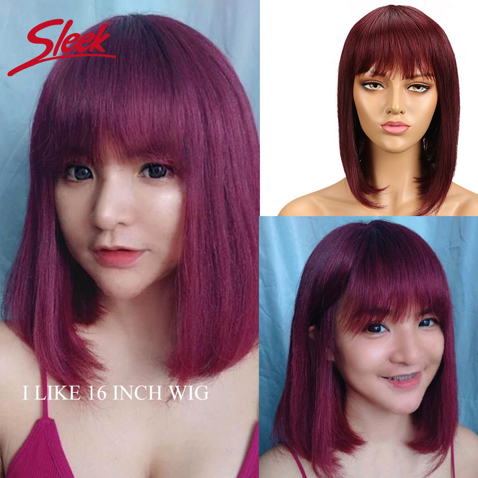 Sleek Human Hair Wigs Straight Bob Wig With Bangs For Women Red Short Wigs 100% Remy Brazilian Hair Wigs Pixie Cut Blue Wig Fast