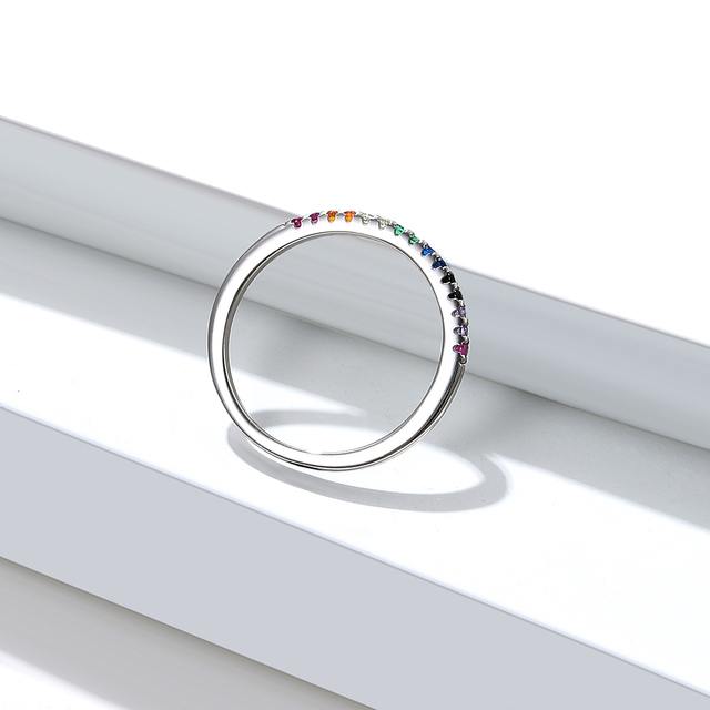 SILVERHOO Ring Rainbow Color Finger Rings for Women Stackable Match Wedding Sterling Silver 925 Jewelry Give Gifts For Friends 3