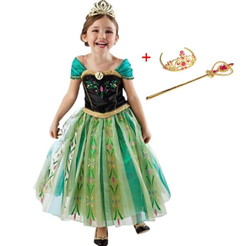 Girls Dress Cartoon Cosplay Snow Queen Dresses Princess Elsa Dresses From Anna Costume Baby Children Clothes Children Clothing