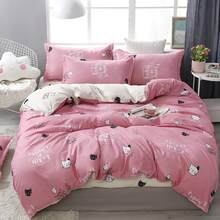 56 Bedding Set Pink Cat Bee Cherry Duvet Cover Set Super King Queen Full Twin Size Bed Linen Flat Bed Sheet For Girl Women(China)