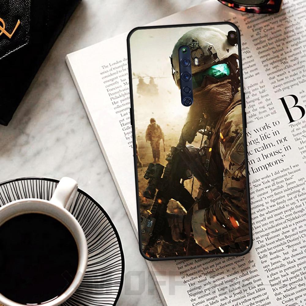 Viviana 特殊兵士黒ソフトシェル電話ケース Capa のための OPPO リノ 2Z R15pro R17pro Realme 2 2pro 3 3pro 5 5pro C2