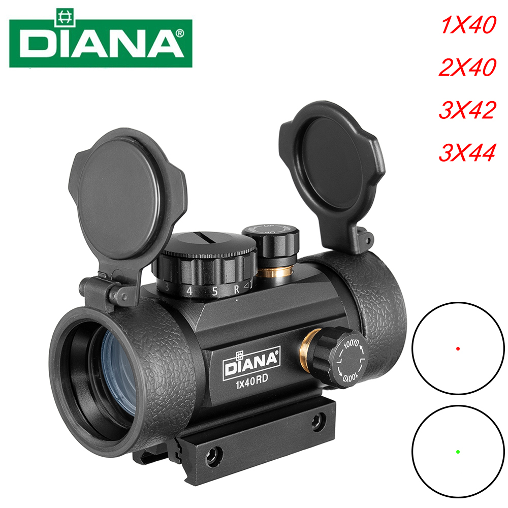 DIANA 1X40 2X40 3X42 3X44RD Tactical Hunting Red Green Dot Sight Scope Optics Riflescope Fit 11/20mm Rail Collimator Sight