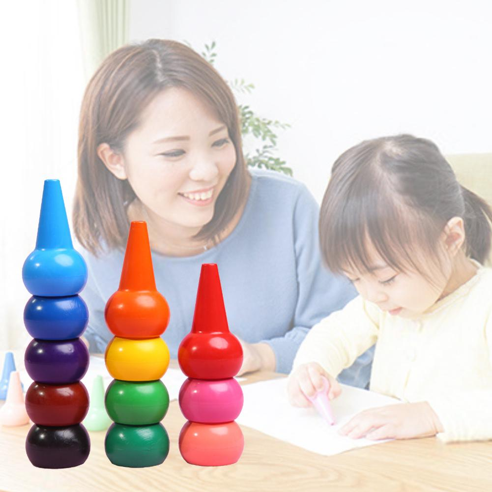 12pcs Non-toxic Children Safety Color Crayons Baby 3D Finger Art Supplies Tools