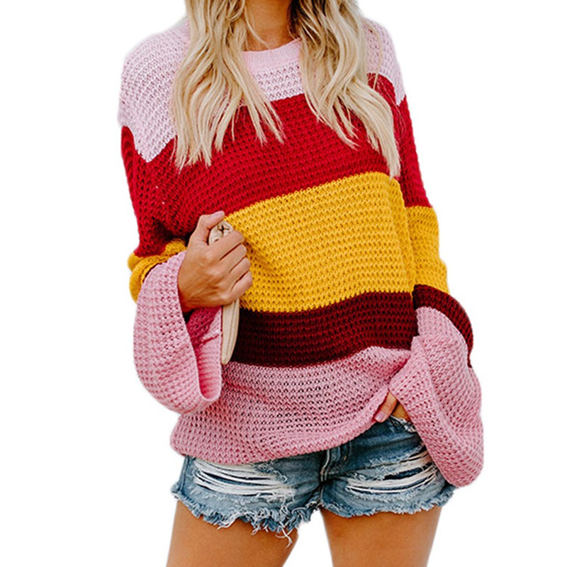 Autumn And Winter Large Size 2XL 3XL4XL 5XL 6XL Loose Round Neck Sweater Pullover Trumpet Sleeve Striped Sweater Women's Shirt