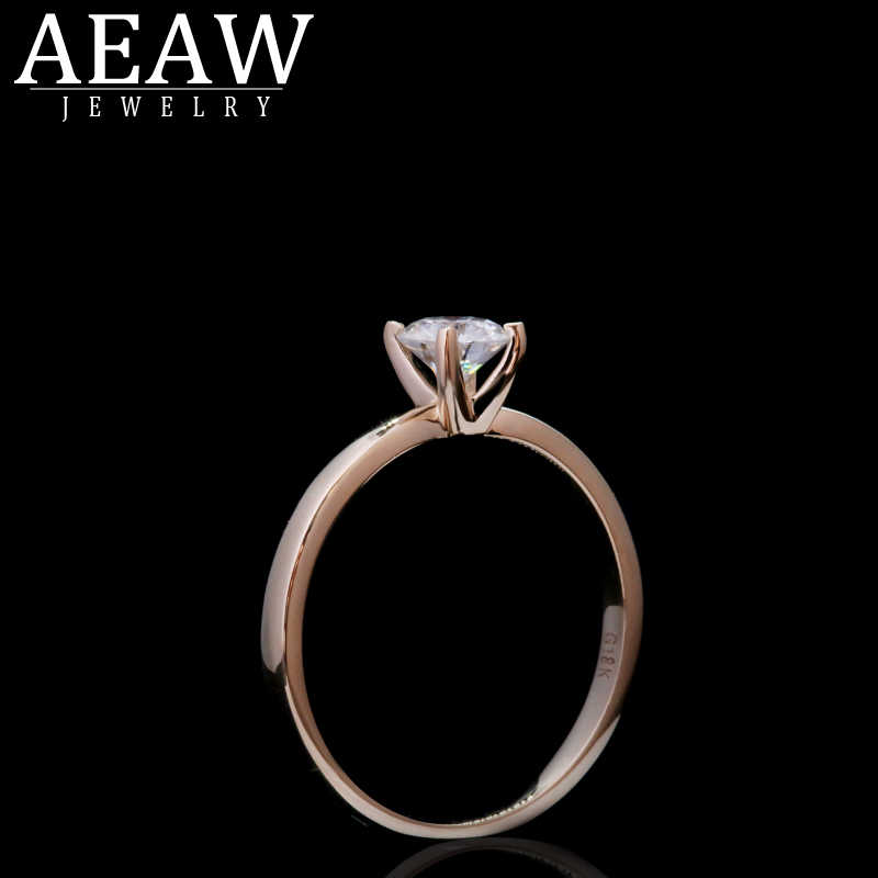 AEAW Weiß Moissanite Ring 0,3 ct 4mm Round Brilliant Cut Moissanite Ring Diamant Ring 14k Rose Gold