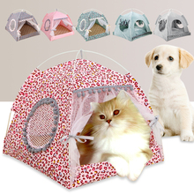 Folding Pet Nest Tent Cat Litter Bed Small Dog Kennel House Summer Mat for Puppy Indoor Soft Removable Sleeping Cave Teepee pet house bed tent cat nest folding villa dog kennel indoor warm sleeping mat soft yurt winter puppy cave sofa pet supplies