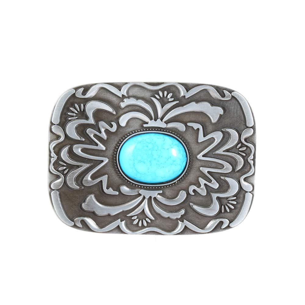 Turquoise Rectangle  Belt  Buckle For Woman Western Cowboy Buckle Without Belt Custom Alloy Width 4cm