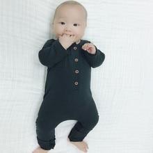 Baby Boys Plain Gray Romper Newborn Cotton Long Sleeve Black Jumpsuit Toddler Spring Rompers 2017 New Arrival E38