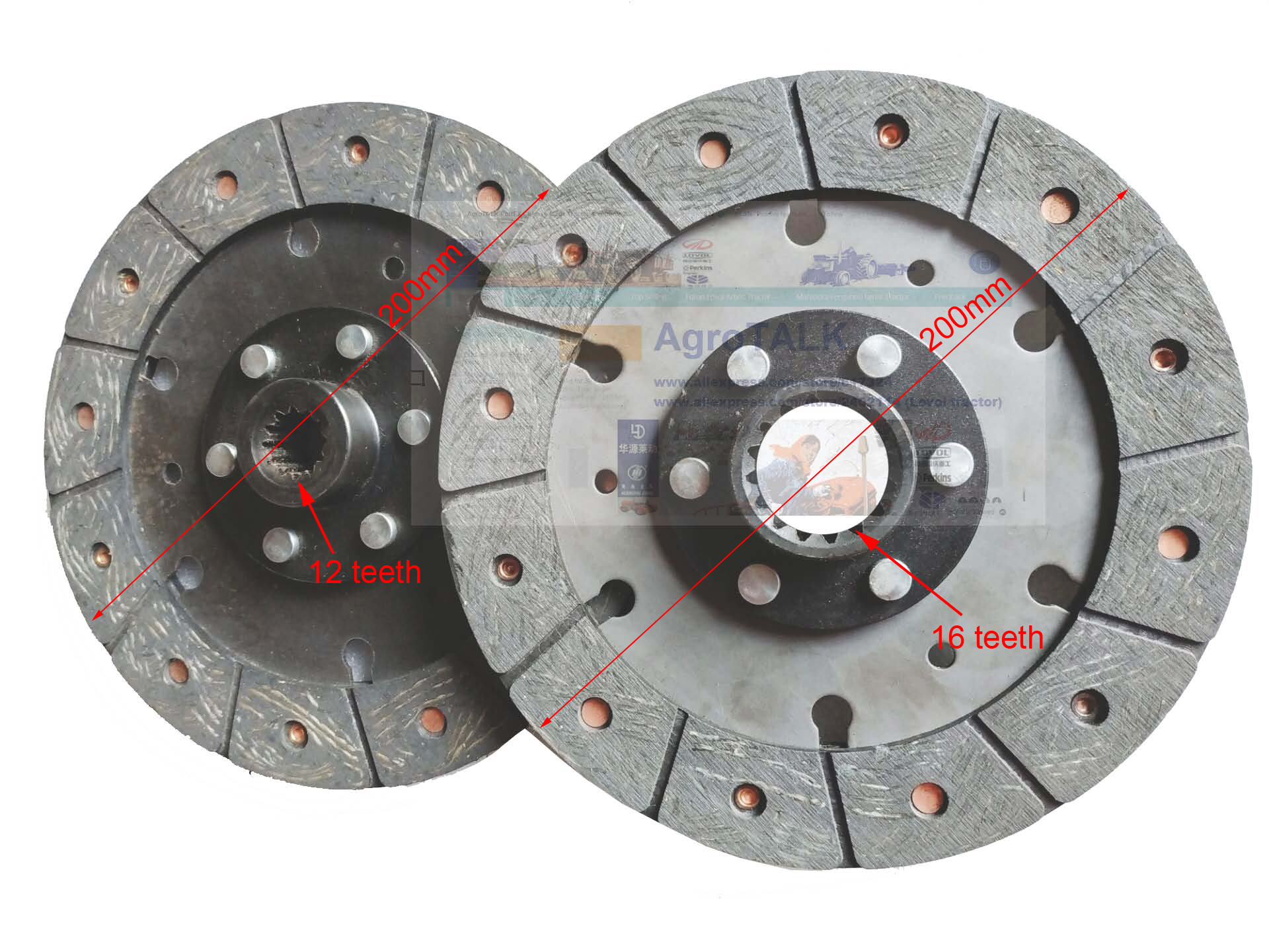 Set Of Clutch Main Clutch Disc And PTO Clutch Disc For Jinma JM254 / JM284, Part  Number: C 250.21S.013 + 250.21S.015