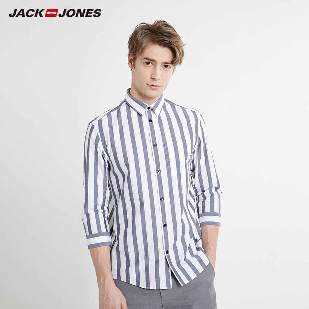 JackJones Men's Spring & Summer Straight Fit 100% Cotton Striped 3/4 Sleeves Shirt Menswear Beach| 219231504