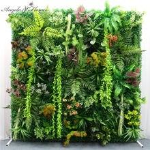 Mur floral artificiel en plastique, 40 cm x 60 cm, fausses plantes, moquette pour l'extérieur, pour un mariage, couleur vert
