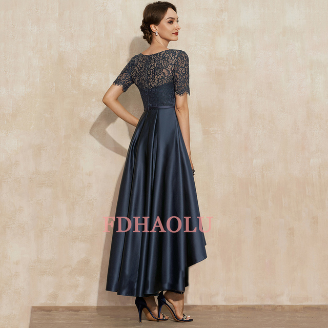 AE09 Navy Blue Satin Prom Dresses O-Neck Lace Short Sleeve Asymmetrical Sexy Party Gowns Vestidos Largos 2