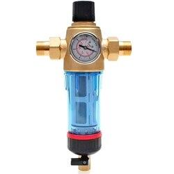 Domowy filtr wstępny 50 mikronów filtr wody z manometrem syfon do płukania wstecznego oczyszczacz wody wodociągowej