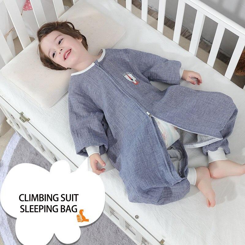 2 Layers Baby Cotton Muslin Sleeping Bag With Legs For Summer Autumn Infant Romper Kids Toddler Sleep Wear Children Kick Quilt