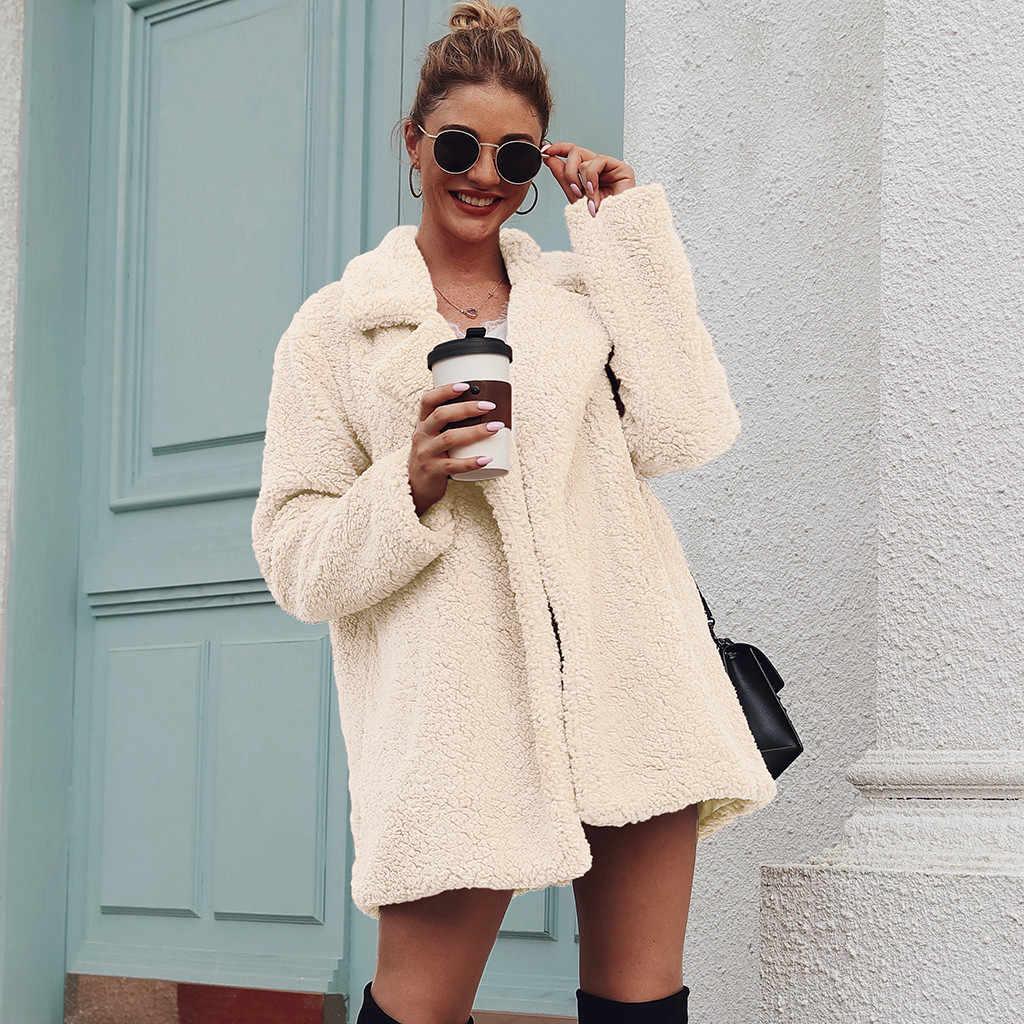 Femmes hiver chaud col rabattu manteau de fourrure artificielle Outwear automne hiver décontracté en vrac solide Long Teddy manteau gilet fourrure