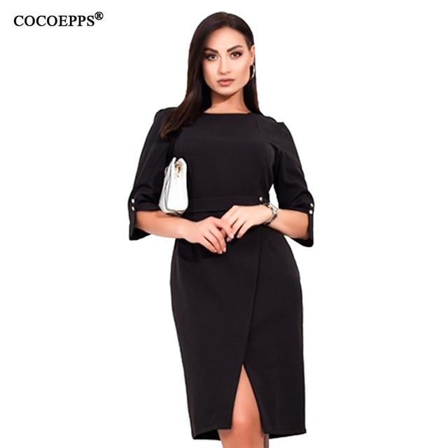 COCOEPPS Plus Size women dress Summer 5XL 6XL New Autumn Casual Office Lady vestidos Female Dresses Elegant Bodycon Party Dress 4