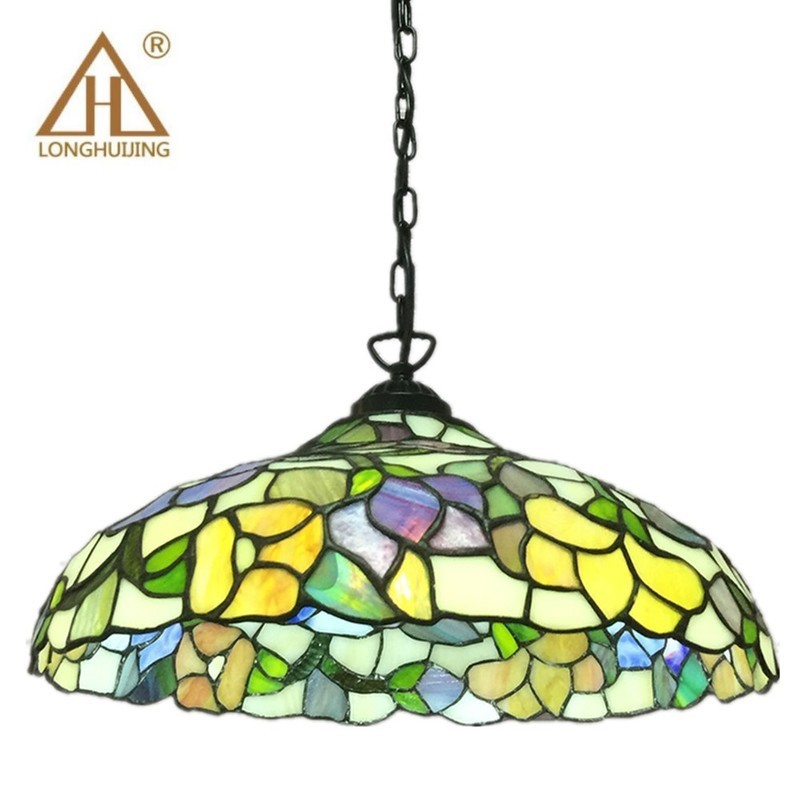 Stained Glass Suspended Luminaire Tiffany Baroque Pendant Lights For Home Parlor Dining Room Chain Pendant Lamps E27 90-260v