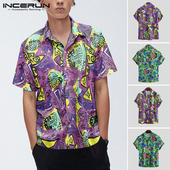 2020Summer Men Printed Shirt Short Sleeve Turn Down Collar Shirt Men Casual Button Floral Blouse Fashion Unisex Streetwear Tops7 turn down collar covered button spliced design long sleeve shirt for men