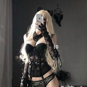 Image 3 - Combinaison de corps en dentelle pour filles, Lingerie japonaise Sexy, ceinture amincissante, sous vêtements transparents, Bustier et Corset ajouré