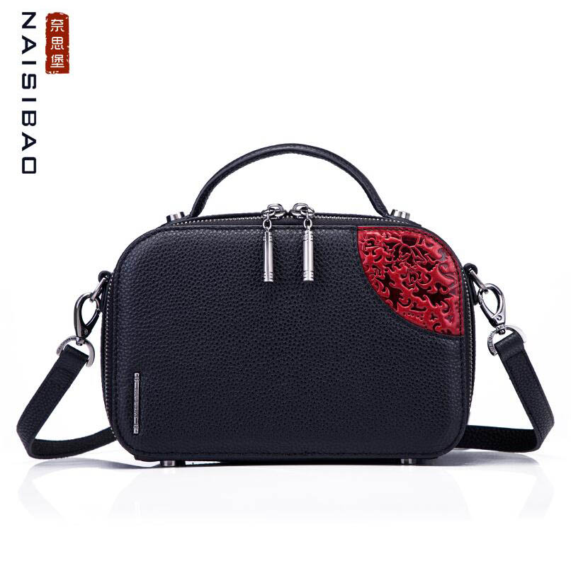 NAiSIBAO 2019 New top Cowhide women genuine Leather bag fashion Embossed luxury crossbody bags leather shoulder
