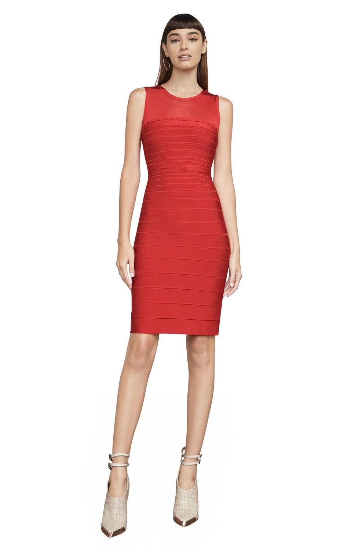 Halinfer 2018 nouveau été femmes robe sexy moulante rouge réservoir o-cou rayonne bandage élégant célébrité robe de soirée vestidos
