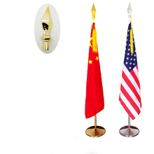 1PCS Customized 2m Length Heigh Gold Flag Pole Indoor Standing Floor Office Flags with Base Flagpole and Arrow Top