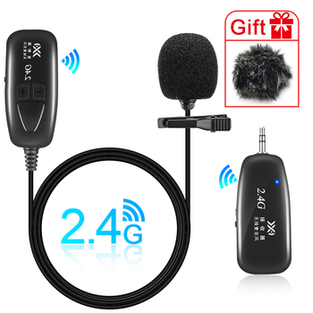 2.4G Wireless Lavalier Microphone Lapel Collar Clip-on Mic for Voice Amplifier Camera Recording Microphones Smartphone Youtube