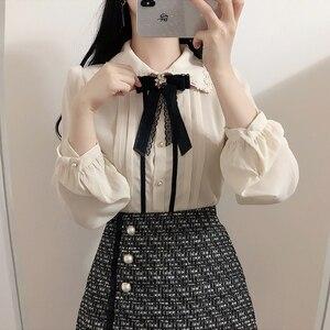 Image 4 - 2020 wiosna kobiet słodkie topy styl Preppy rocznika Japaneses projekt koreański przycisk eleganckie formalne koszule bluzki różowy biały 12020