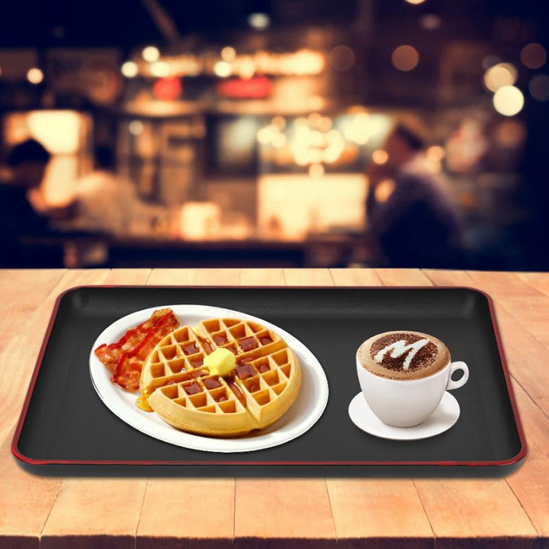 Serving Tray Japanese Style Rectangular Plastic Tray Food Serving Tray for Restaurant Home Hotel Wooden Tray Sturdy and Durable|Storage Trays| |  - title=