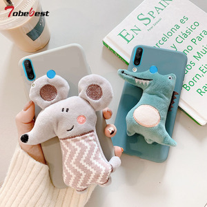 3D Cute Plush Toy Mouse Crocodile Case for Huawei Y5 Y6 Y7 2018 Honor 10 9 8 Lite 7C 20 Pro 8X 8C 8A P Smart Z 2019 TPU Cover(China)