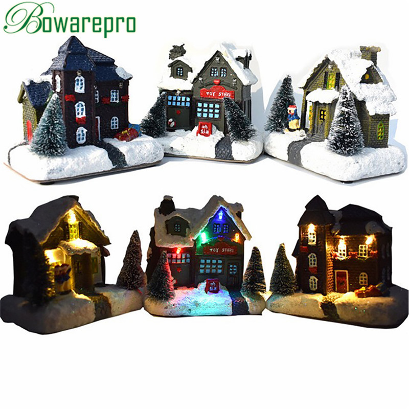 2019 New Year Merry Christmas Scene Village Houses Town With Warm White LED Light Holiday Gifts Christmas Decoration For Home