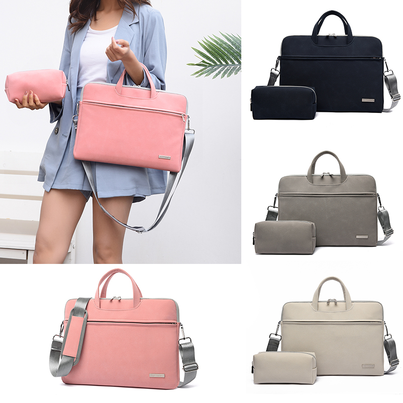 SHUJIN PU Leather Women Laptop Bags Notebook Carrying Case Briefcase For Macbook Air 13.3 14 15.6 Inch MenHandbags Shoulder