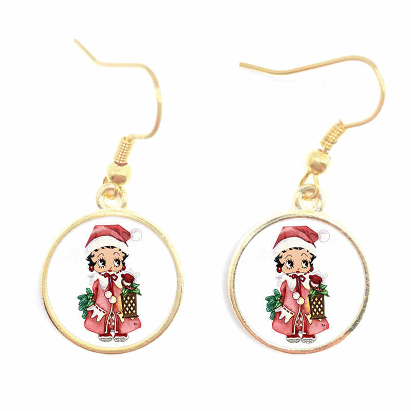 Baru Tiba Indah Menawan BETTY BOOP Bayi Drop Anting-Anting Lucu Kartun Xmas Drop Anting-Anting Halloween Hadiah Hadiah Natal
