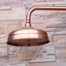 """Antique Red Copper Round 8"""" Rainfall Shower Head, Extension Pipe Wall Arm Shower Arm Bathroom Accessory (Standard 1/2"""") Nsh100"""