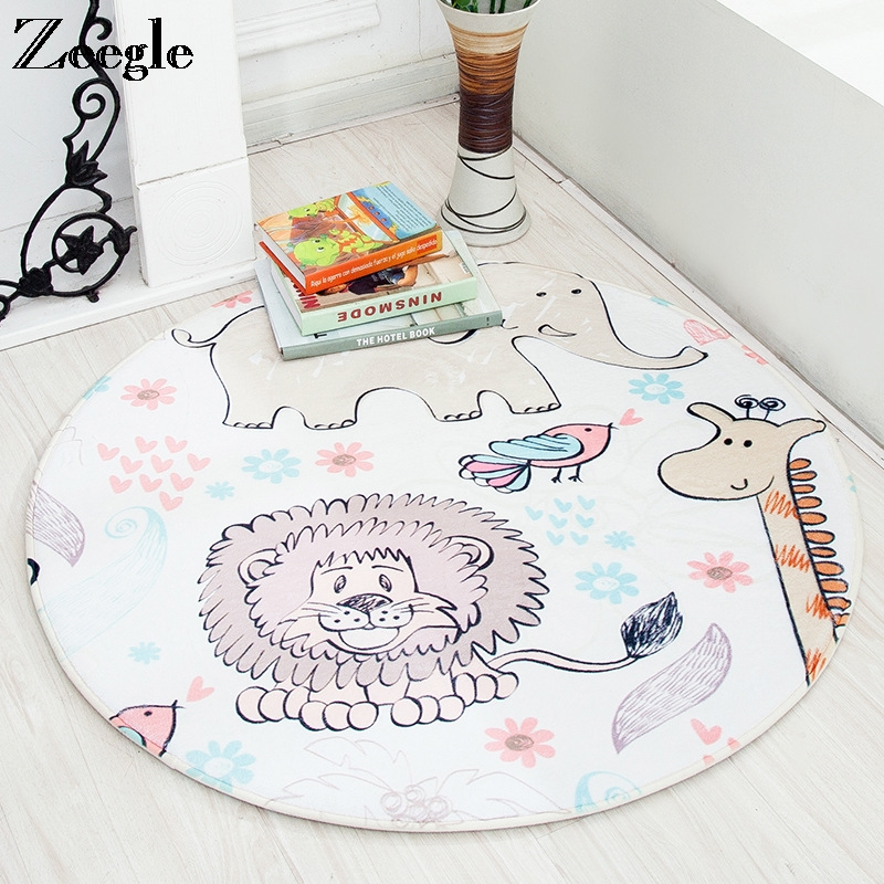 Cartoon Printed Round Carpet Rug For Living Room Lovely Kids Room Area Rug Anti Slip Bedroom Carpet Absorbent Coffee Table Rug