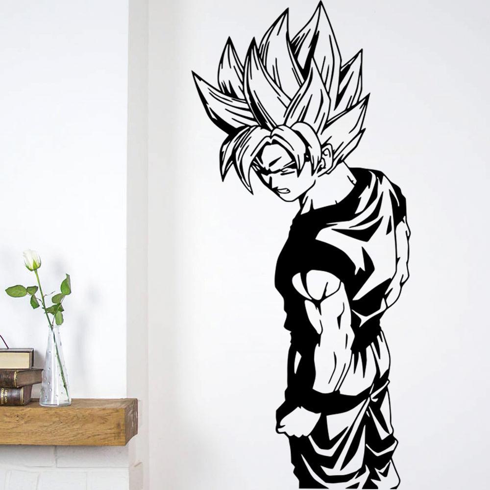 Etiqueta de la pared Super Saiyan Goku etiqueta de la pared del vinilo-Bola del dragón, arte de la pared, etiqueta engomada para la decoración de la habitación de los niños etiqueta de la pared DIY barbería tienda reloj gigante de pared con efecto espejo Barbero herramientas kits reloj decorativo sin marco reloj peluquero Barbero arte de pared