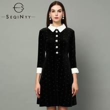 Бархатное платье SEQINYY, весна-осень, новая мода, дизайнерское, женское, рукав 3/4, кристальная пуговица, тонкое, блестящее, мини, черное платье
